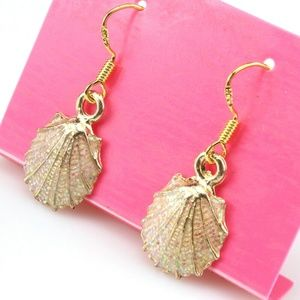Peach sparkly Glitter seashell Beachy earrings
